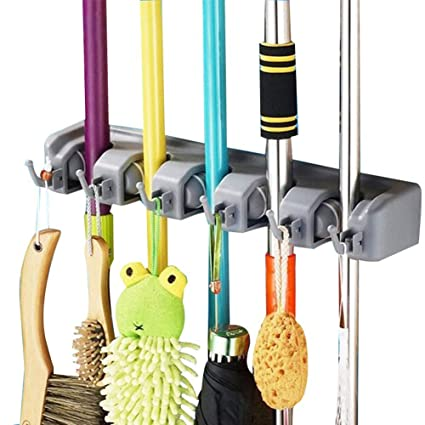 DayBuy Mop And Broom Holder Wall Closet Mounted With 5 Position And 6 Hooks  Organizer Rakes