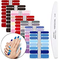 WOKOTO 7Pcs Full Wraps Nail Art Stickers Tips With 1Pcs Nail File Pure Color Nail Adhesive Decals Strips Manicure Kits For Women