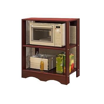 MyYztsj-kitchen rack Creatividad Cocina Horno de microondas Repisa Estufa Horno Estantería Electrodomésticos para el Suelo Madera de 3 Capas Nuez roja: ...