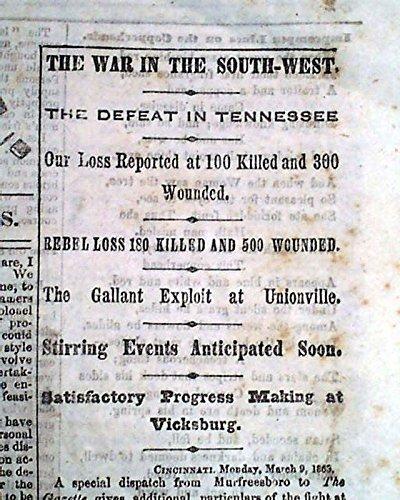 BATTLE OF THOMPSON'S STATION Unionville TN Tennessee Civil War 1863 Newspaper 1863 Civil War Newspaper