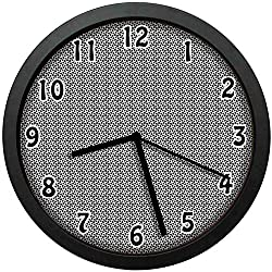 Vertical Rectangles Abstract Pattern Futuristic Graphic Geometrical,Black and White Wall Clock Nice for Gift or Office Home Unique Decorative Clock Wall Decor 10in with Frame