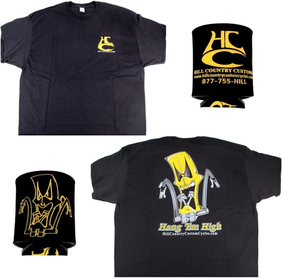 Hill Country Custom Cycles X-Large Black Logo T-Shirt with Black Coozie set