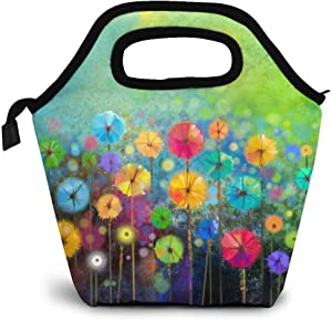 Reusable Lunch Bag, Watercolor Painting Lunch Bag Picnic Office Outdoor Thermal Carrying Gourmet Lunchbox Small Flower Floral Lunch Tote Container Tote Cooler Warm Pouch For Men,Women