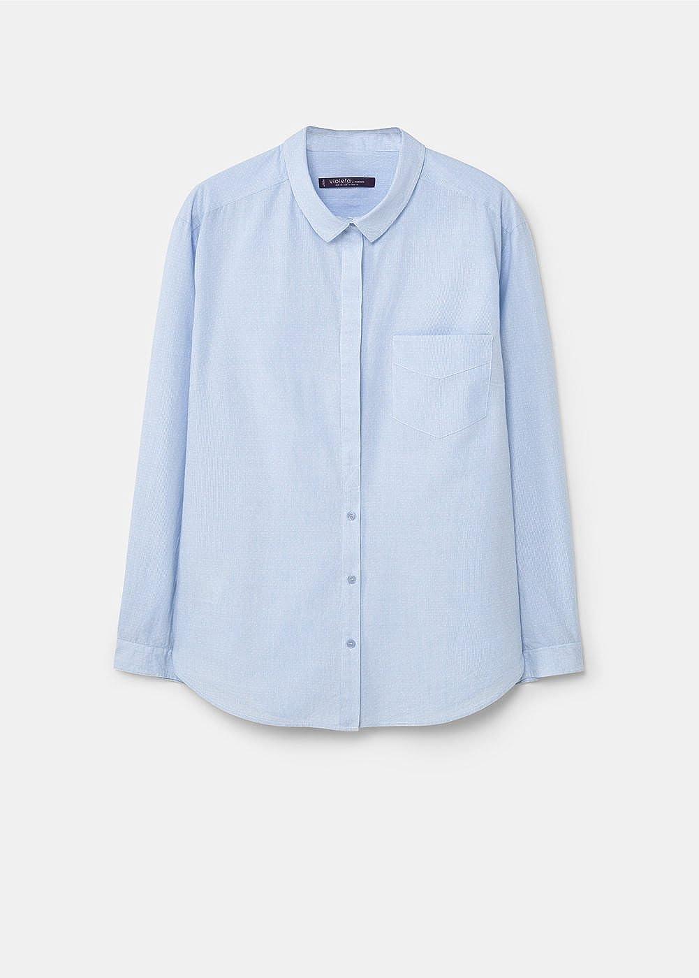 VIOLETA - Camisas - para mujer azul celeste Large: Amazon.es ...