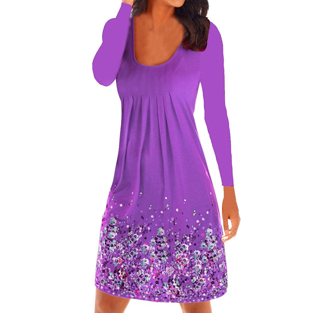 Winsummer Womens Casual Loose Plain Dresses Vintage Floral Printed T-Shirts Dress Plus Size Purple