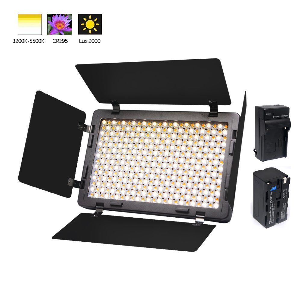 Venidice Ultra-thin Camera LED Light Panel Video Light Kit (Included NP-750 Battery+Recharger+4 Barndoor) with 340 LED, CRI+ 95,Adjustable Color Temperature and Brightness Shooting Lighting