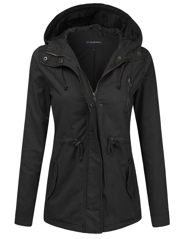 JJ Perfection Women's Casual Lightweight Cotton Anorak Army Utility Jacket Black 3XL
