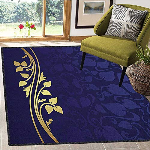 (Navy Blue Super Soft & Cozy Rugs,Romantic Royal Leaf Pattern with Golden Colored Floral Branch with Leaves Non Slip Absorbent Super Cozy Dark Blue and Gold 67