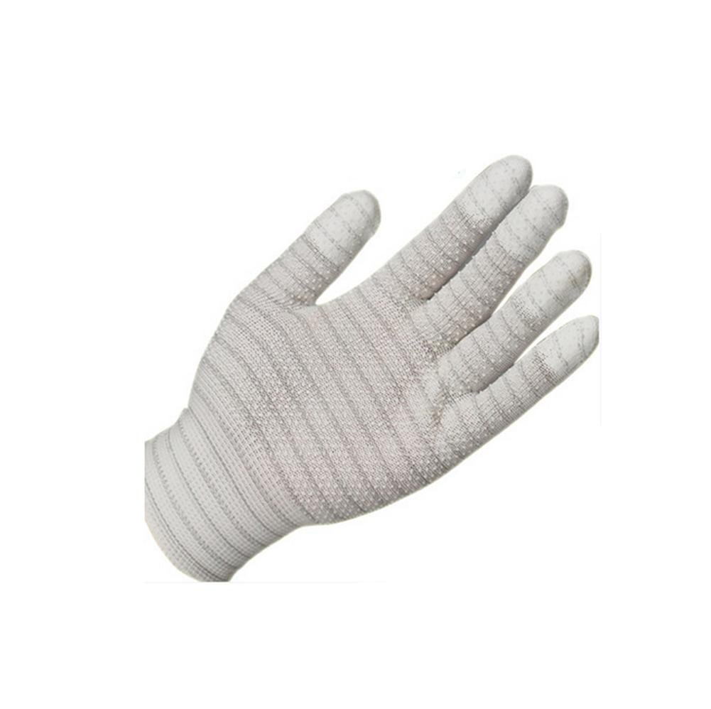 General 10 pairs of coated fingers gloves anti-skid Tuzhao wear-resistant clean labor insurance anti-static carbon fiber nylon gloves , m