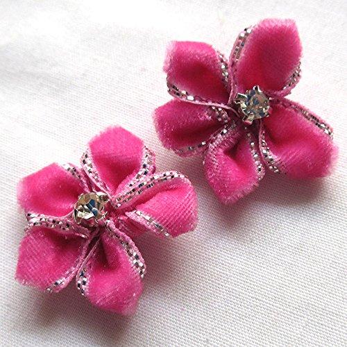 40pcs Velvet Ribbon Flowers Bows Rhinestone Appliques Wedding Decoration Lots
