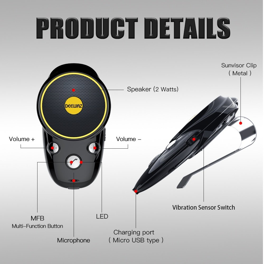 Bluetooth Visor Speakerphone Car kit,DEEWAZ Wireless Handsfree Speaker for Car,12 Seconds Auto Answering for Safely Driving,1000mAh Battery for 22 Hours Talking Time,Support 2 Phones Paring by DEEWAZ (Image #8)