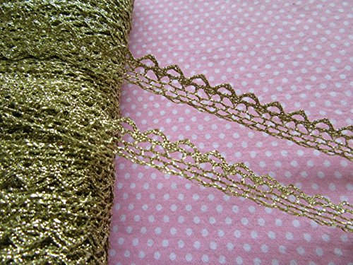 YYCRAFT Pack Of 20y Metallic Ribbon Lace Edge 1/2