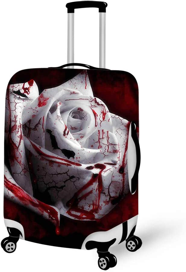 Luggage Cover Bloody Roses White Rose Protective Travel Trunk Case Elastic Luggage Suitcase Protector Cover