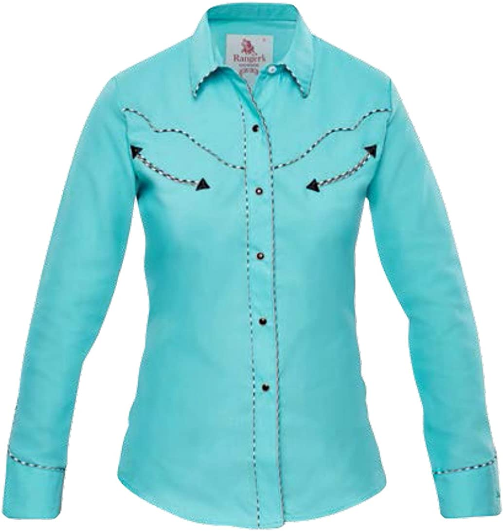 Modestone Womens Long Sleeved Fitted Western Camisa Vaquera ...