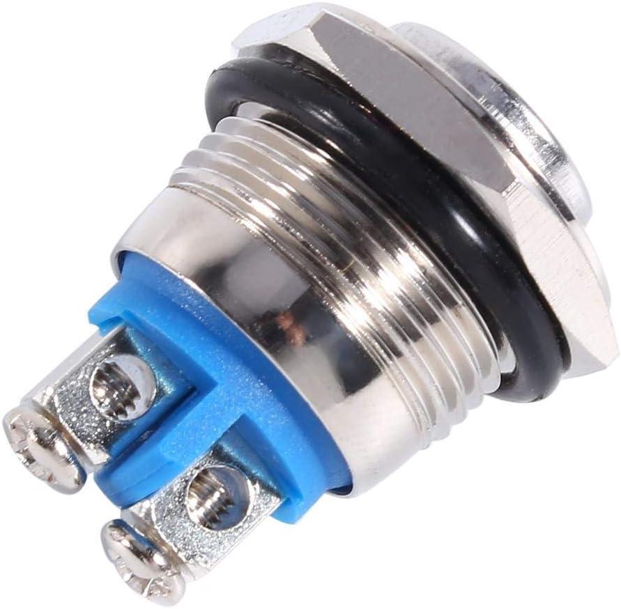 Drucktastenschalter 1 PC mit 12V 16mm Auto Wasserdichte Momentane Metalldrucktaste ON OFF Hupenschalter Silber.