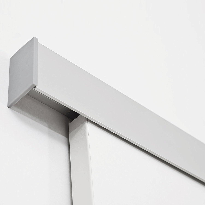 inova Holz-Schiebet/ür 775 x 2035 mm wei/ß Alu Komplettset mit Lauf-Schiene und Griffmuschel inkl Softclose