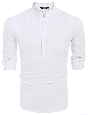 d3dcbb12 COOFANDY Men Premium Henley Neck Linen Shirts Casual Long Sleeve Basic  Shirts,White,Small