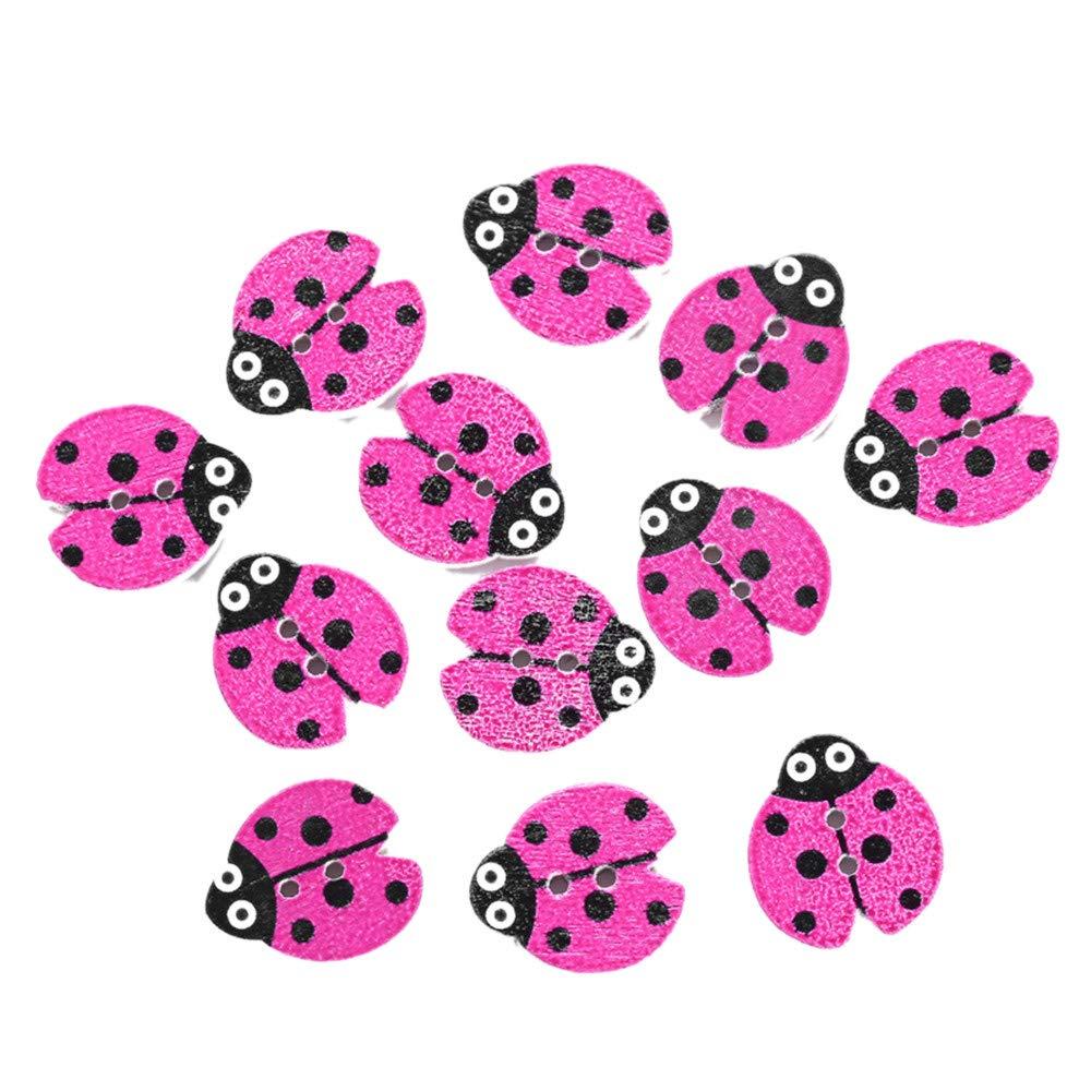Rameng 12Pcs Boutons Bois Coccinelle Assortis Color/és avec 2 Trous /à Coudre D/écoration de Couture rose