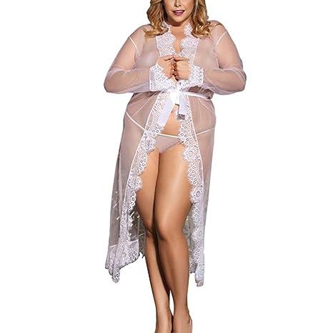 Lencería Sexy, YanHoo Mujeres largo atractivo de seda del kimono de la bata de la