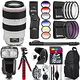 Canon EF 70-300mm IS USM Lens + Pro Flash + 6PC Graduated Filter Set + UV-CPL-FLD Filters + Macro Filter Kit + 72 Monopod + Lens Hood + 16GB Class 10 + Backpack + Tripod - International Version
