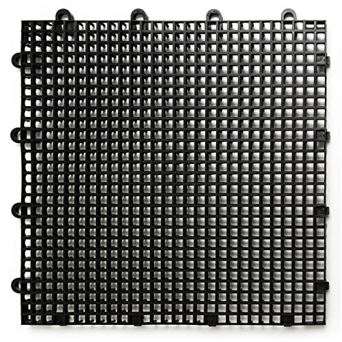- DuraGrid STBLAK Comfort Tile Interlocking Modular Multi-Use Safety Floor Matting (12 Pack), Black