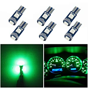 WLJH T5 Led Bulb Canbus Error Free Car Instrument Cluster Dashboard Led Dash Lights Bulb Replacement 74 2721 17 73 74 3030SMD 12V Interior Dome Light (Green,Pack of 6)
