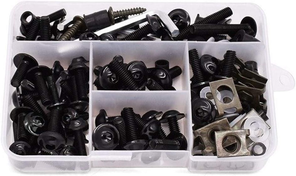 175PCS Aluminium Motorrad M6 Verkleidung Schrauben Fastener Clips Gewindemuttern for Suzuki rm 250 RMX 250 rmz 250 450 DRZ 400 sm RMX250 Color Name : Black