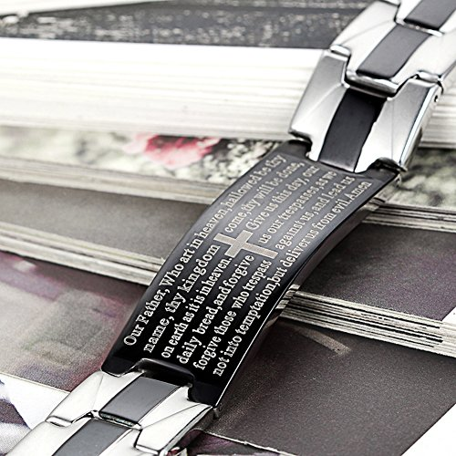 Flongo Men's Vintage Stainless Steel Black Cross English Bible Lords Prayer Link Wrist Bracelet