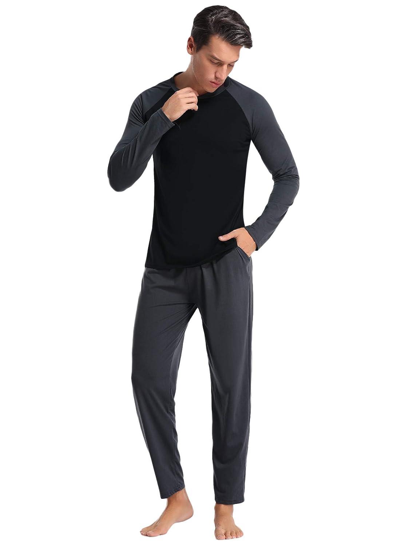 Aibrou Pijamas Hombre Invierno Manga Larga Conjuntos de Pijama para Hombre Algod/ón Ropa de Domir 2 Piezas Pantalones Largo