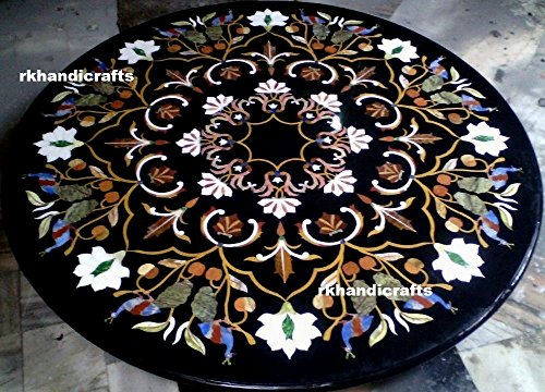 rkhandicrafts 48'' Round Black Marble Semi Precious Stones Restaurant Table Top Inlay Floral Design