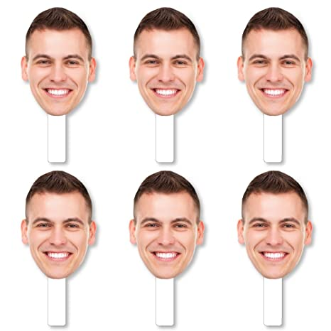eec1b606301 Image Unavailable. Image not available for. Color  Big Dot of Happiness Fun Face  Cutout Paddles - Custom ...