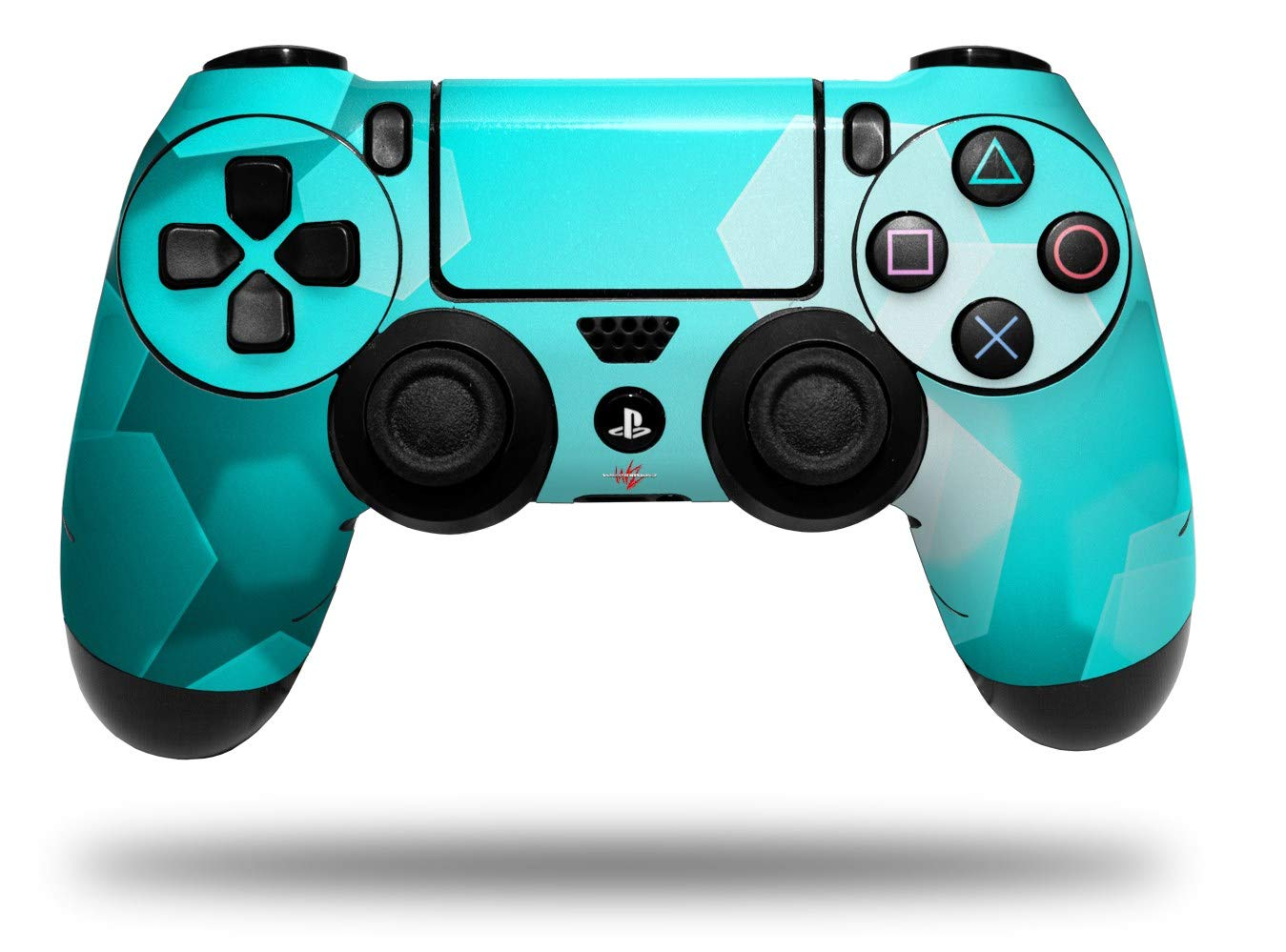 WraptorSkinz Skin compatible with Sony PS4 Dualshock Controller PlayStation 4 Original Slim and Pro Bokeh Hex Neon Teal (CONTROLLER NOT INCLUDED)