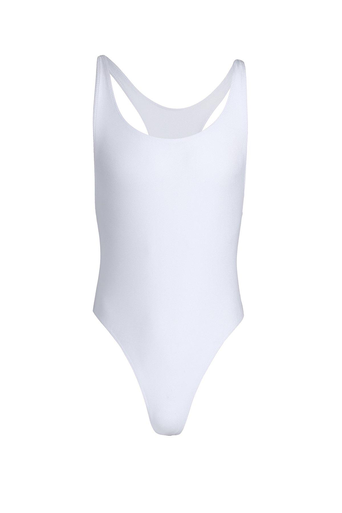ranrann Men's One-Piece Racer Back Bodysuit Wrestling Singlet Leotard Bodysuit Thongs White Medium by ranrann