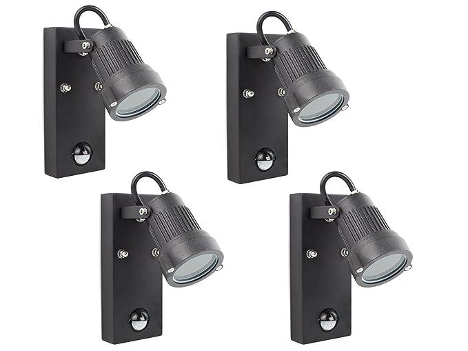 Juego de 4 luces exteriores con sensor de movimiento, incluye LED de 3 W,