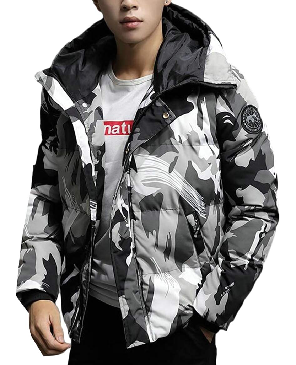 RRINSINS Mens Winter Warm Thicken Camouflage Print Hooded Jacket Padded Coat