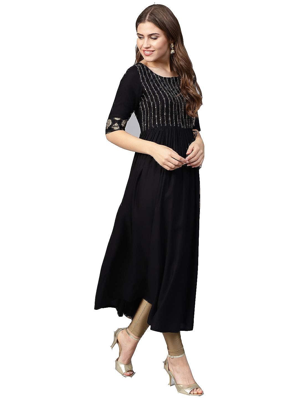 Black Color cotton A-Line Kurta For Women's