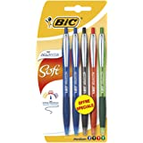 BIC Atlantis Soft Stylos-Bille - Couleurs Assorties , Blister de 5