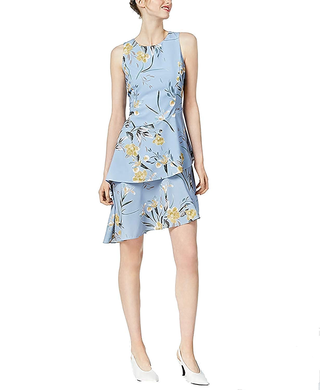 Dark Trop bluee Bar III Women's Printed Asymmetrical Ruffle Dress