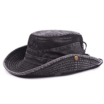 8b7d82dbfc6 LAYAN-B Mens Summer Cotton Embroidery Visor Bucket Hats Fisherman Hat  Outdoor Climbing Mesh Sunshade