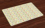 Lunarable Gardening Place Mats Set of 4, Seasonal Symbols in the Backyard of Twin Dwarfs Fences Spotted and Plant Pots, Washable Fabric Placemats for Dining Room Kitchen Table Decor, Multicolor