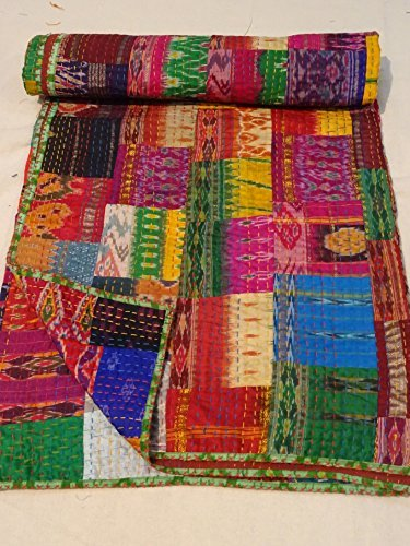 Indian Quilt -Vintage Quilt Old Patola Indian Silk Sari Kantha Quilted Patchwork Bedspread Bohemian Kantha Throws, Gudari Handmade
