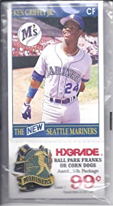 KEN GRIFFEY JR. 1990 Red Apple Pin and Card Stadium Giveaway SGA with Hygrade Coupon Seattle Mariners Baseball