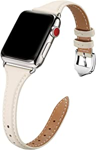 WFEAGL Leather Bands Compatible with Apple Watch 38mm 40mm, Top Grain Leather Band Slim & Thin Replacement Wristband for iWatch SE & Series 6/5/4/3/2/1(IvoryWhite Band+Silver Adapter, 38mm 40mm)