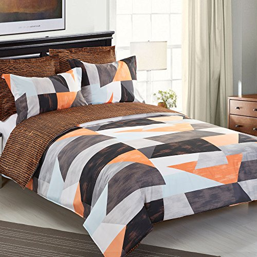 NTBAY 5 Pieces Reversible Fashionable and Simple Geometric Pattern Printed Microfiber Duvet Cover Set with Hidden Zipper, Soft & Breathable (Queen,Brown)