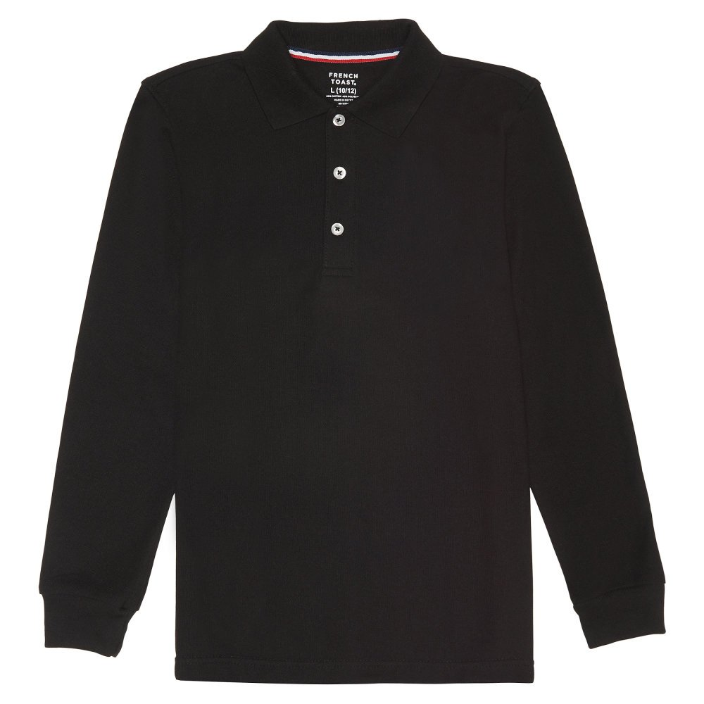 French Toast Little Boys' Long Sleeve Pique Polo, Black, 6