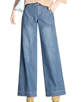 e059567c4c Yollmart Women's Blue Bootcut Baggy Leg Jeans Wide Leg Pants at ...