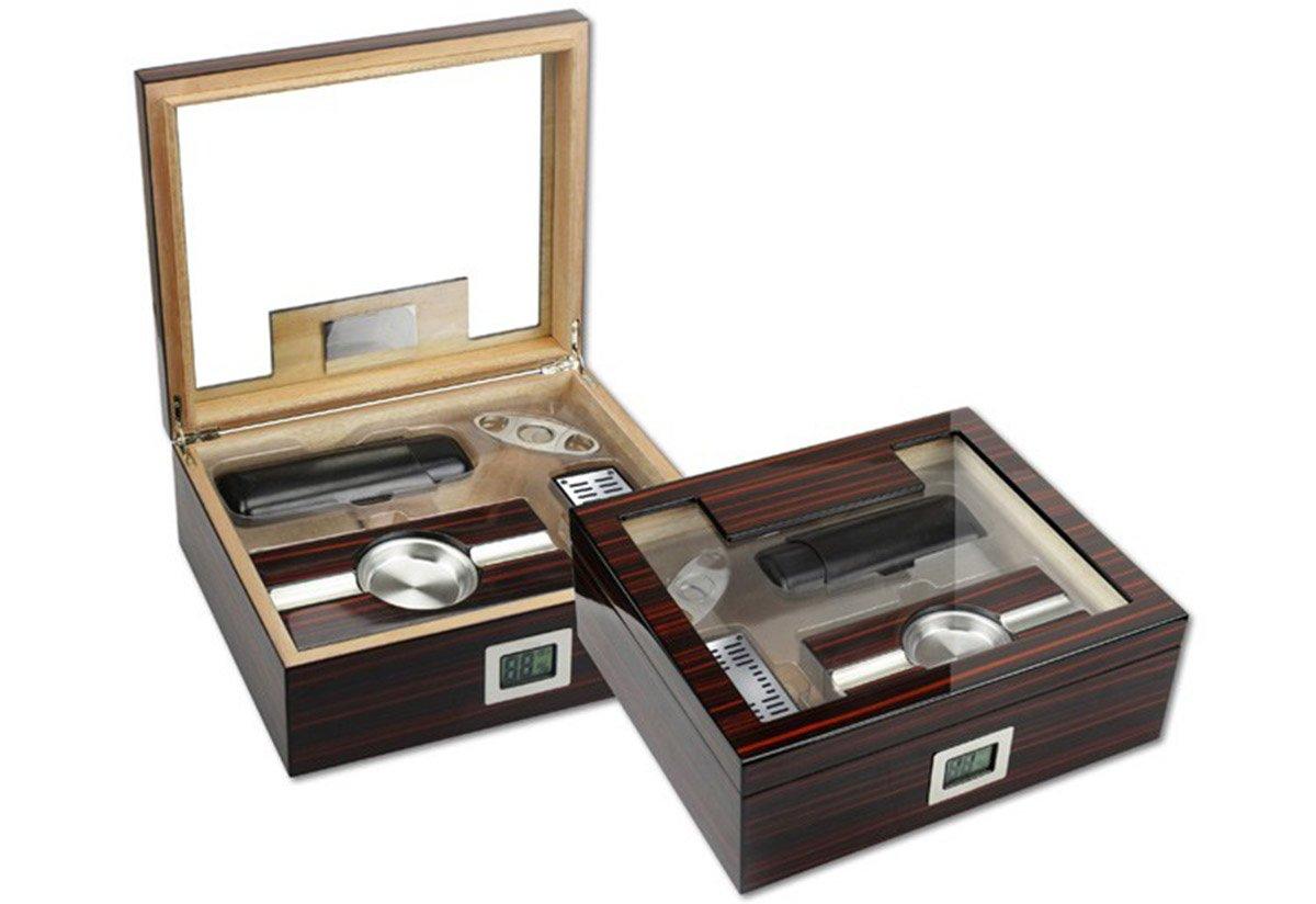 Amazon.com: THE Kensington Gift Set Cigar Humidor - Color: Ebony Cherry Wood Finish: Home & Kitchen