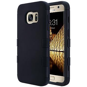 ULAK Galaxy S7 Funda, S7 Funda Luxury Hybrid 3 Capa Funda de Silicona Shell Funda Resistente a los Golpes para Galaxy S7 (Negro)