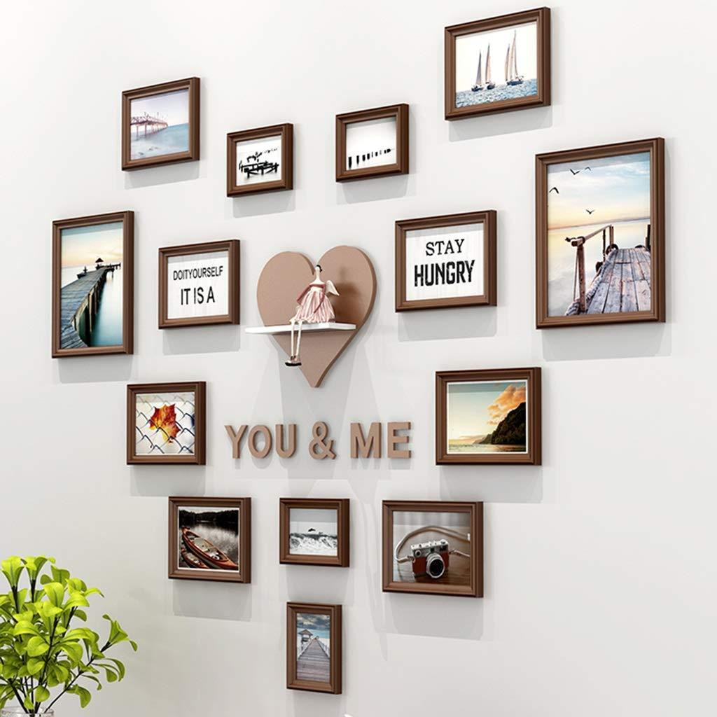 Unbekannt Festes Holz-Foto-Rahmen Herz-förmige Foto-Wand-dekorativer Raum-Liebes-Foto-Rahmen-Wand-Wohnzimmer-Schlafzimmer-Wand-Hintergrund-Foto-Rahmen-Kombination (Color : Chocolate)