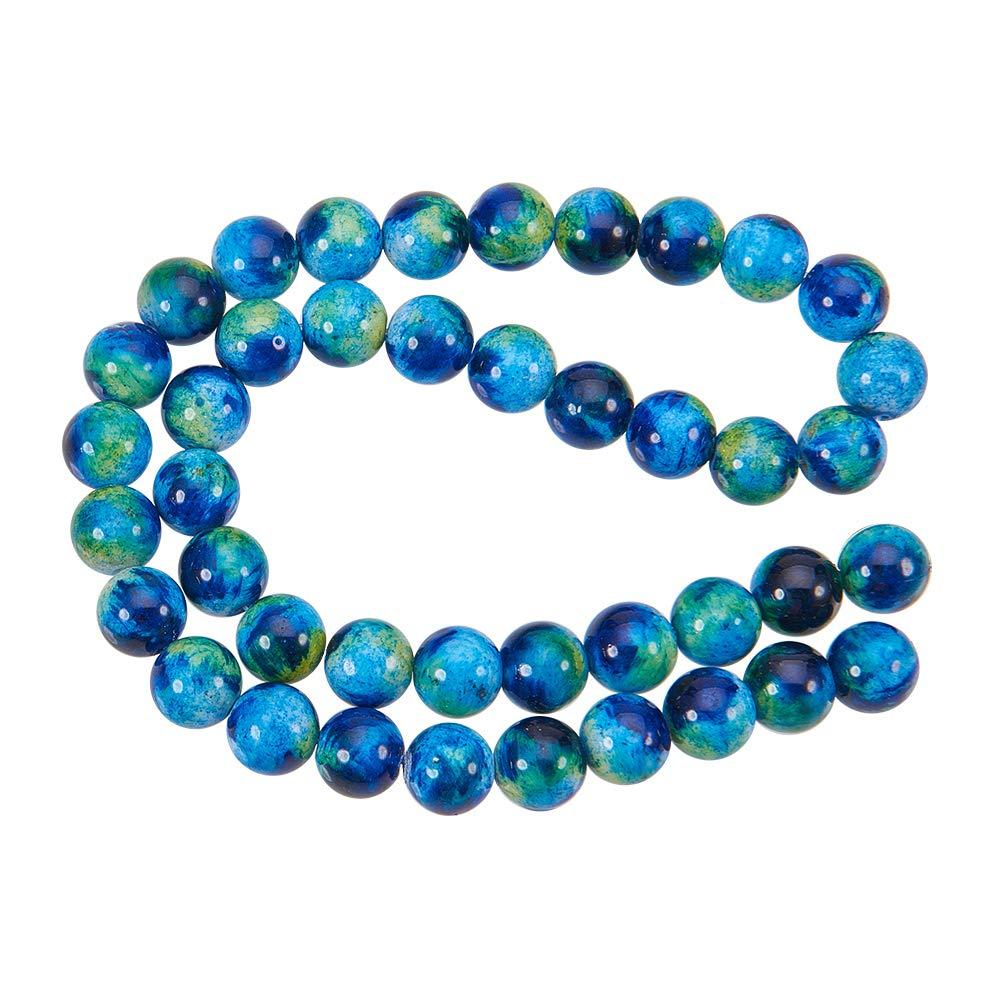 Liscio Perline per Creare Gioielli Blue NBEADS 1/Filo 40PCS//Filo 10/mm Rotonda Naturale Perle di Giada